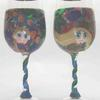 "Matching Dream Vessel Glasses. ""Caned"" Portraits and geometric patterns. Photo shows front and back of matched glasses."